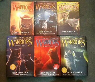 """Set of 6 Warrior Cats """"A Vision of Shadows"""" Series Books by Erin Hunter"""