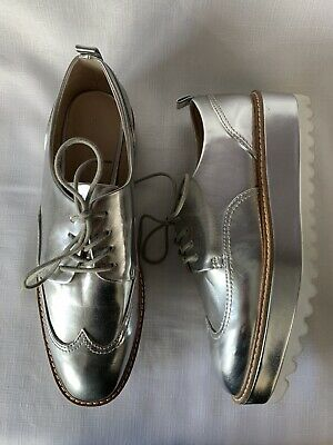 ZARA Amazing Silver Platform Ridge Sole Wingtip Brogues Shoes NEVER WORN 41 UK 8