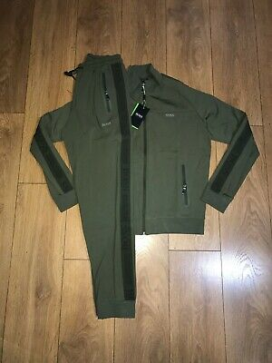 Hugo Boss tracksuit khaki tape zip top and bottoms reg fit all sizes
