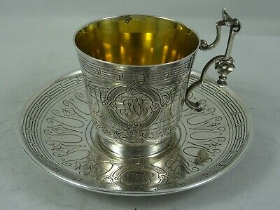 FRENCH, solid silver TEA CUP & SAUCER, c1900, 157gm