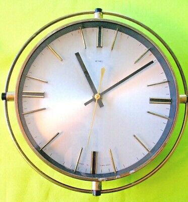 Old vintage retro mid century brass surround atomic Metamec Wall Clock