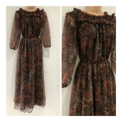 Vintage 70's Brown Floral Elasticated Neck Boho Festival Prairie Maxi Dress 10