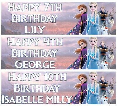 GIRLS FROZEN PERSONALISED  NAME AGE HAPPY BIRTHDAY BANNER