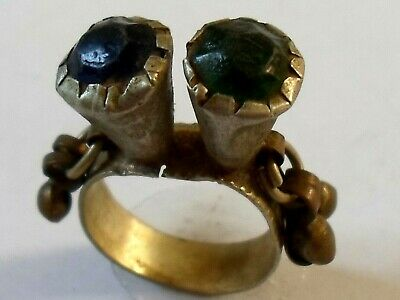 A Genuine,Beautiful,Detector Find,Post Medieval Bronze  Ring With Glass/Stones..