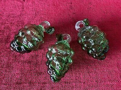 Vintage Hand-Blown Green Glass Grape Clusters (Set of 3)