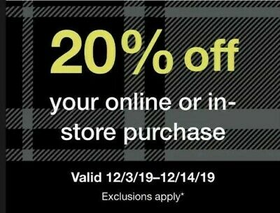 Target 20% Off Storewide 12/3-12/14/19. Exclusions shown in Picture. zwack209