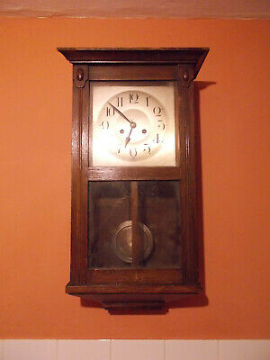 Antique German Kienzle Art Nouveau Wall Clock Dark Wood Case Restore