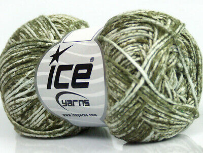 80/% Cotton Lot of 8 Skeins Ice Yarns DENIM Hand Knitting Yarn Light Green