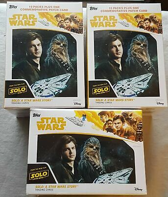 3x solo a Star Wars Story Blaster Box ( Topps 2018) One Patch Card per Box
