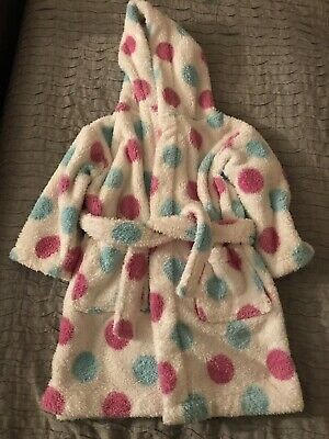 John Lewis Girls White Pink Blue Spotty Dressing Gown age 12-18 months. VGC