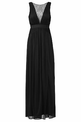 Adrianna Papell Black Women's Size 6 Floral Lace Illusion Gown $180 #279