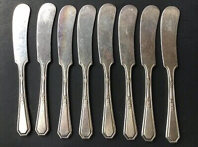 8 PCS.Wm.ROGERS&SON 1923  INDIVIDUAL BUTTER KNIVES MAYFAIR PATTERN SILVER PLATE