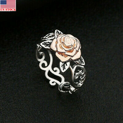 US Solid Sterling Silver 925 Rose Flower Ring Ladies.Women Valentine's Day Gift~
