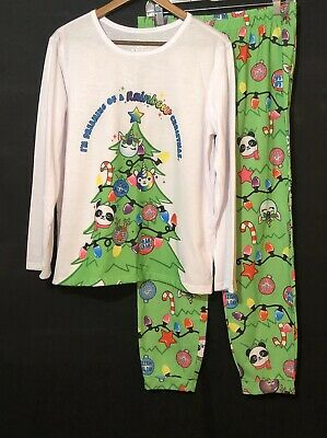 Justice Girls 18/20 Plus 2 Piece Pajama Set Green White Christmas PJ Stretch EUC