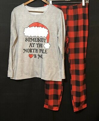 Justice Girls 18/20 Plus 2 Piece Pajama Set Red Gray Christmas PJ Stretch EUC