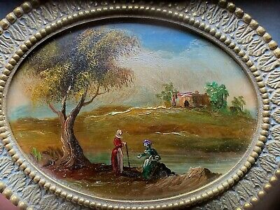 Early 20th Century Italian MINIATURE Landscape PAINTING Oval Brass FRAME ITALY