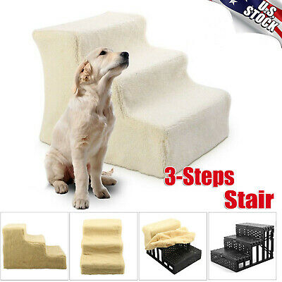 Portable Pet Stairs Dog Cat Indoor Animal Soft 3 Steps Ramp Ladder with Cover