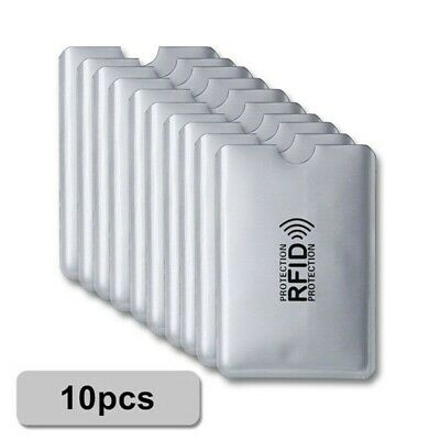 10pcs RFID Blocking Sleeve Credit Card Protector Bank Card Holder Case SILVER