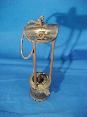 Late 19thc DAVY Style COAL MINERS Brass SAFETY LAMP American Lamp + Mining Co