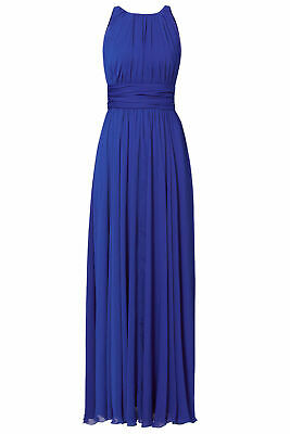 Badgley Mischka Blue Women's Size 12 Ruched Crinkle Chiffon Gown $790- #456