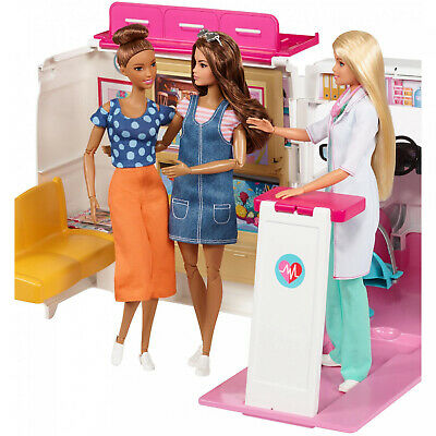 Kids Barbie Care Clinic 2-in-1 Fun Playset Ambulance and Hospital For Ages 3Y+