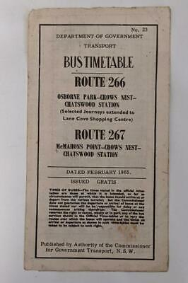 Sydney Bus Timetable No 23 1965 Routs 266 &267 Chatswood Station -Mcmahons pt+