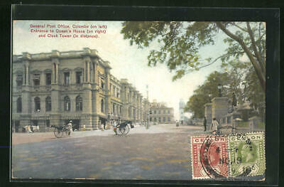 AK Colombo, General Post Office, Entrance to Queen´s House on right and Clock T