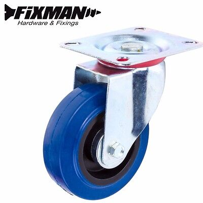 """High Quality SINGLE CASTOR SPARE WHEEL Blue 4""""/100mm RUBBER Repair Swivel Dolly"""