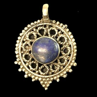 Ancient Silver Decorative Gandhara Bedouin Pendant With Lapis Stone (2)
