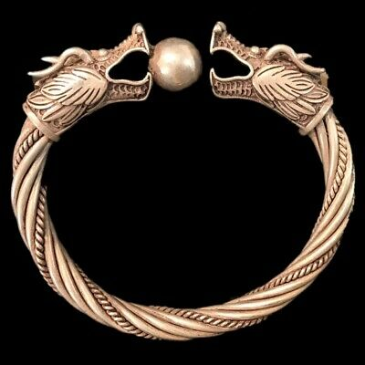 Rare Ancient Twisted Viking Silver Torc With Beast Head Terminals 300 B.c. (1)