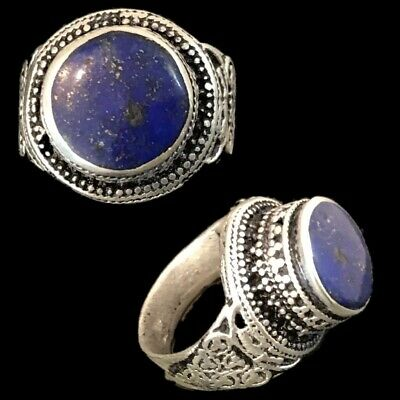 Stunning Top Quality Post Medieval Silver Ring With A Lapiz Stone (3)
