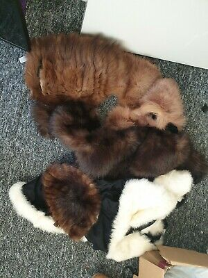 Vintage Joblot collection Real Fur Stoles Cape Hat For Spare Repair taxidermy