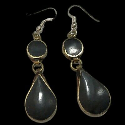 VERY RARE ANCIENT SILVER EARRINGS WITH BLACK STONES 200-400 AD (Large Size) (4)