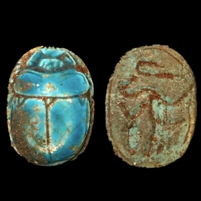 Beautiful Ancient Egyptian Blue Glazed Scarab 300 Bc (2)