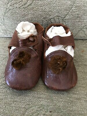 A Superb Pair Of Brown Leather Child's/Dolls Shoes.
