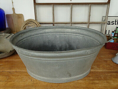U3284 Beautiful Oval Washtub Bathtub Zinc RAR 29 7/8x22 13/16in Close