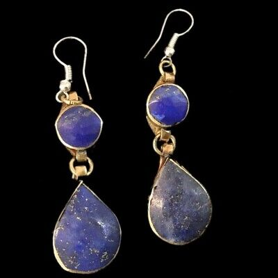 VERY RARE ANCIENT SILVER EARRINGS WITH LAPIS STONES 200-400 AD (Large Size) (6)