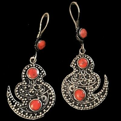 Very Rare Ancient Silver Bird Earrings With Red Stones (9)