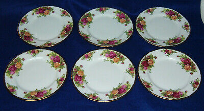 "6 - Royal Albert Old Country Roses - 7-1/4"" Dessert Plates - Gold Trim"