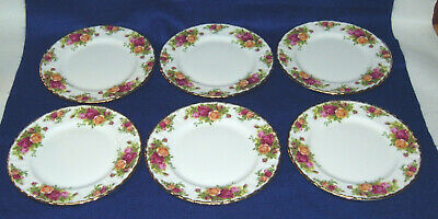 "6 - Royal Albert Old Country Rose 8"" Salad Plates - Gold Trim"