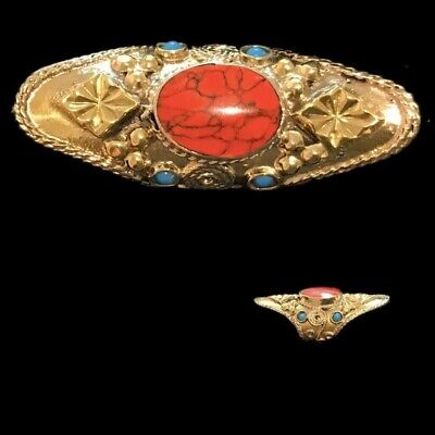 Ancient Silver Decorative Gandhara Bedouin Ring With Red Coloured Stones