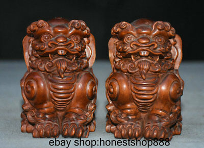 """4"""" Old China Boxwood Hand-carved Feng Shui Foo Dog Lion Beast Statue Pair"""