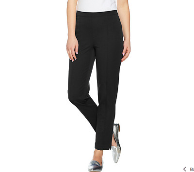 Isaac Mizrahi Live!Petite 24/7 Stretch Ankle Pants with Pintuck Black Size 16P
