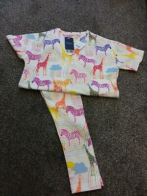 Girls Pyjamas Age 6 Next White Multi Zebra Giraffe Bnwt
