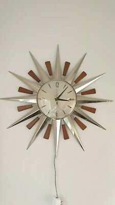 VINTAGE METAMEC SUNBURST CLOCK - CHROME & TEAK 240v