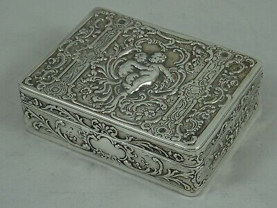 PRETTY solid silver TRINKET BOX, 1904, 158gm