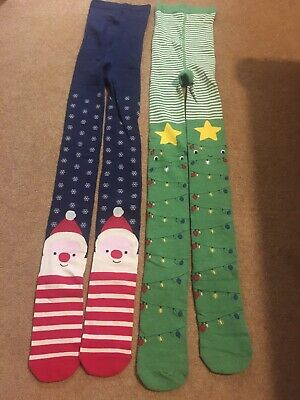 2 Pairs of NEXT Girls Christmas Xmas Tights - Size Age 11-12 Years - New Unworn