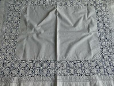 Vintage Irish Linen Table Cloth, Table Topper Hand Worked Drawn Threadwork
