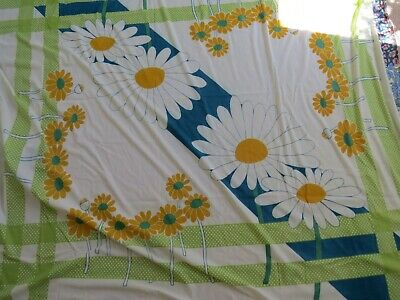 Vintage yellow blue and green floral tablecloth
