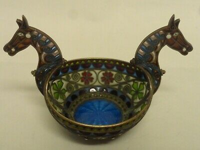 Antique Norwegian silver 930 plique-a-jour & guilloche enamel bowl with horses